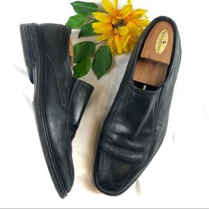 Ecco Mens Black Leather Slip On Dress Loafers